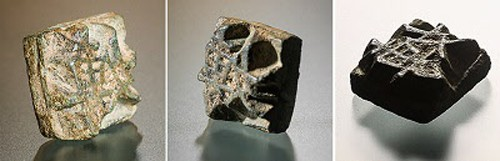 The piece of metal type found during a recent excavation at Manwoldae in Kaesong,  from different angles [Credit: Yonhap]