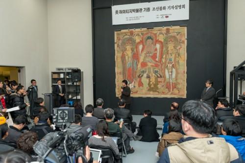 Peinture bouddhique restituée, présentée à la presse coréenne, Musée National de Corée, Séoul, 7 janvier 2014