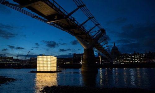 Ik-Joong Kang's sculpture floats on the river Thames at night. Photograph: Peter Macdiarmid.