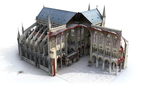 Vue en coupe  de Notre-Dame de Paris en 1350. Crédits modélisation Laurence Stefanon, 2013.