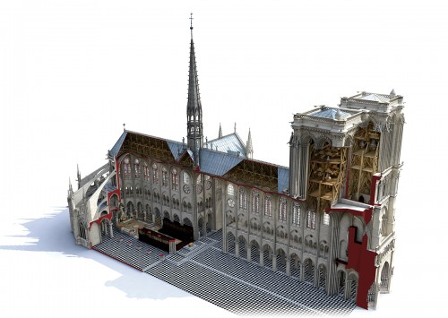 Vue en coupe actuelle de Notre-Dame de Paris. Crédits modélisation Laurence Stefanon, 2013.