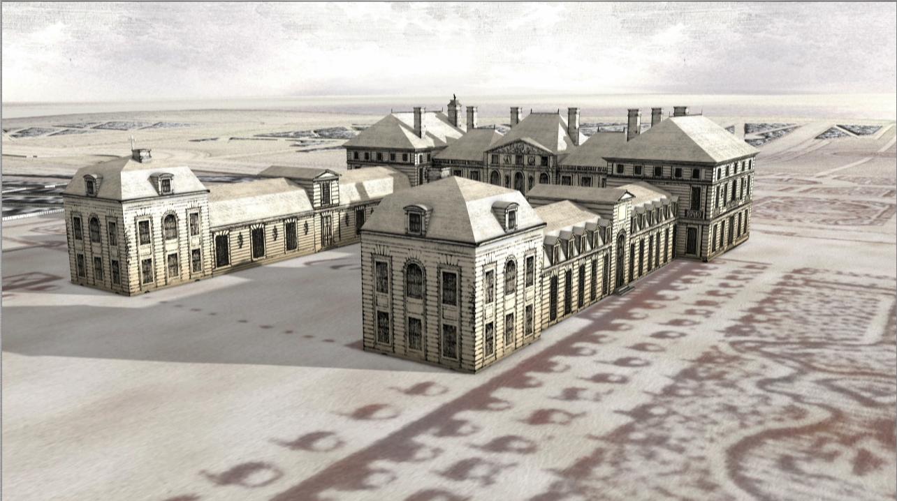 """Photogramme du film """"L'ancien château de Sceaux"""" diffusé au sein des collections permanentes du château de Sceaux. Restitution réalisée à partir des archives numérisées. Crédit AmaK pour CG92, 2009."""