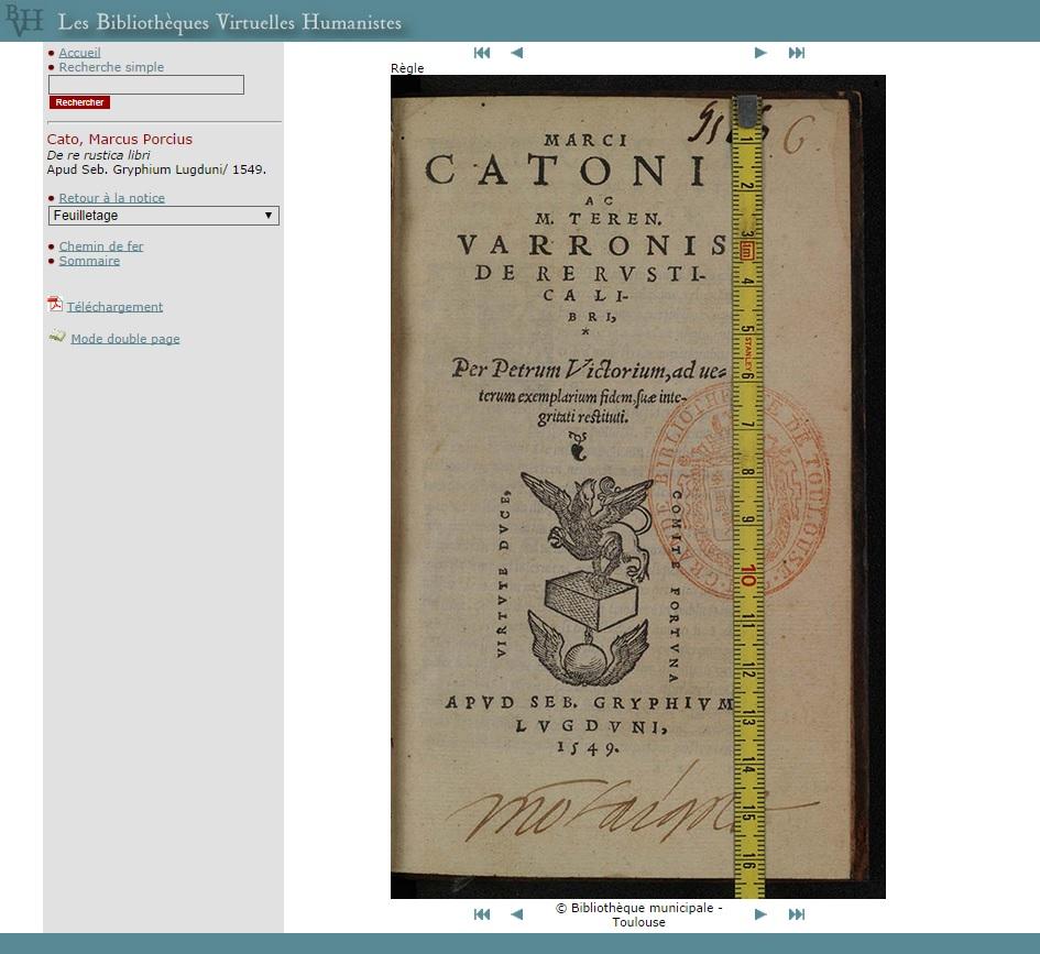 """Capture écran de la consultation proposée actuellement pour le fac-similé du <a href=""""http://www.bvh.univ-tours.fr/Consult/consult.asp?numtable=B315556101_RD16_0006&numfiche=1137&mode=1&ecran=0&index=5"""" target=""""_blank"""">De re rustica libri</a>, crédit Bibliothèque municipale de Toulouse, 2014."""