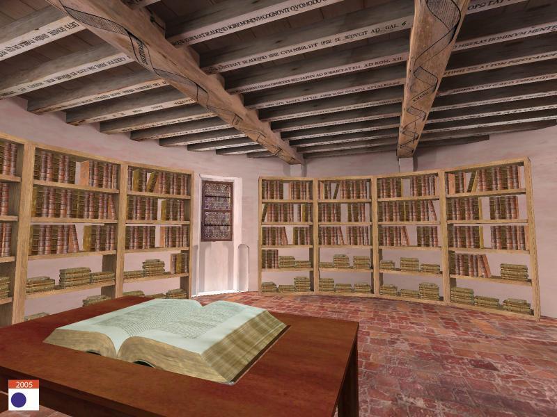 """Restitution de la librairie de Montaigne, Crédits <a href=""""http://archeovision.cnrs.fr/plugins/kitcnrs/diapo_affiche.php?projet=MONTAIGNE"""" target=""""_blank"""">Archéovision</a>, 2005."""
