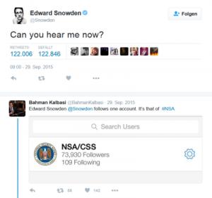 """""""Can you hear me now?"""" – Edward Snowden tritt Ende September 2015 der Social Media Plattform Twitter bei."""