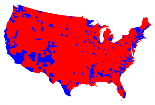 Blue (democratic) urban areas vs. red (republican) countryside in the US election 2016
