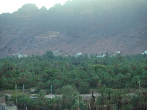 Vue du Ksar El Mihan sur Ksar Adjahil, se trouvant de l'autre côté de la rivière Ijriou au pied des ruines du palais de Ghawen – ancien « Sultan-Tiran » comme il nous a été décrit par la mémoire collective (en arrière-plan). © Photo de l'auteur.