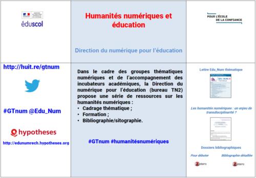 Mémo GTnum Humanités numériques