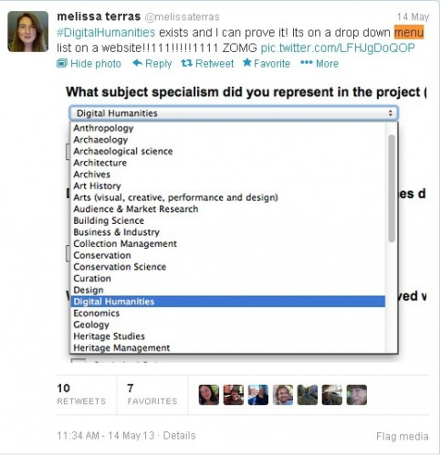 Tweet showing Digital Humanities in drop down menu