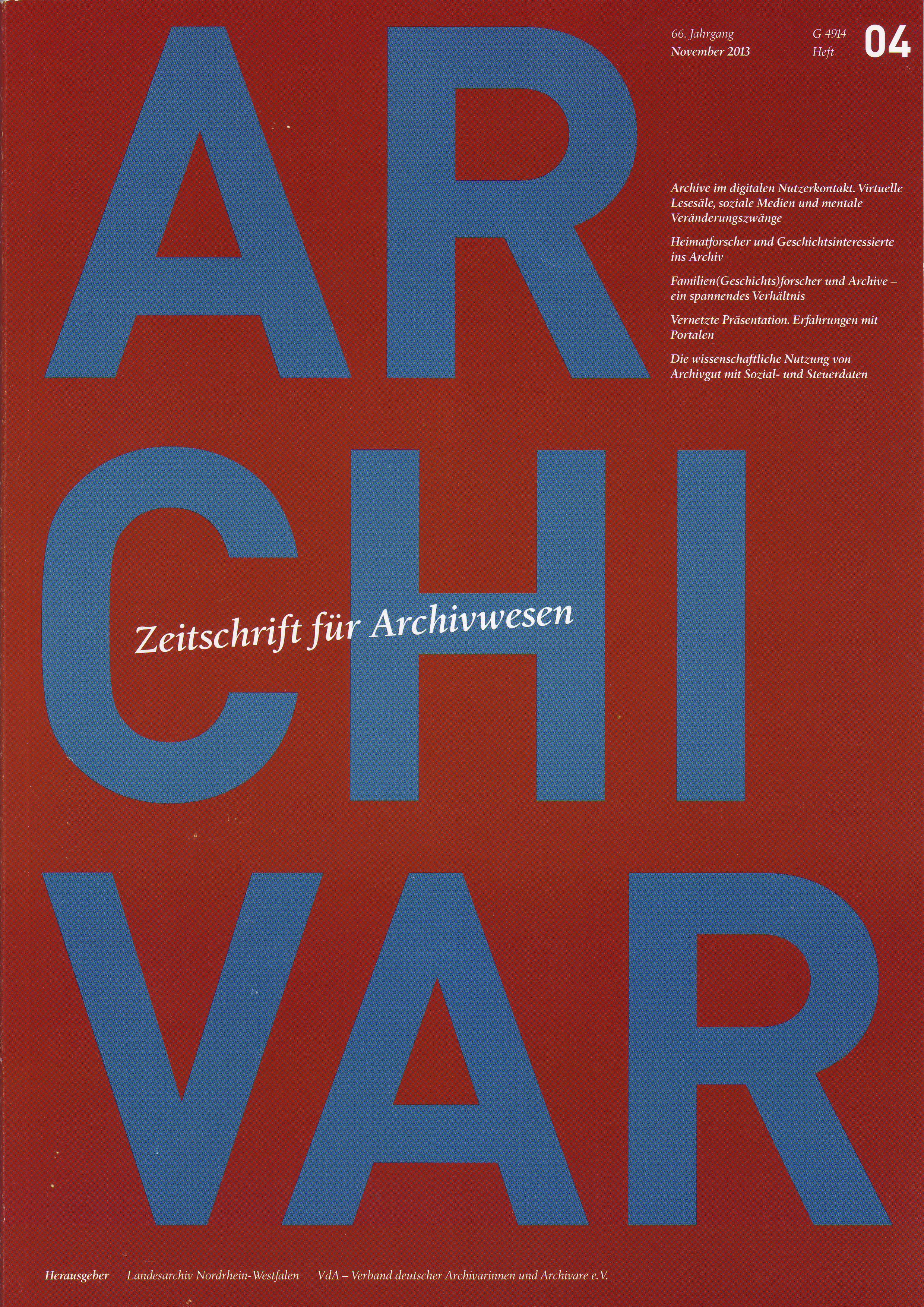 Titelblatt Archivar 66 (2013)