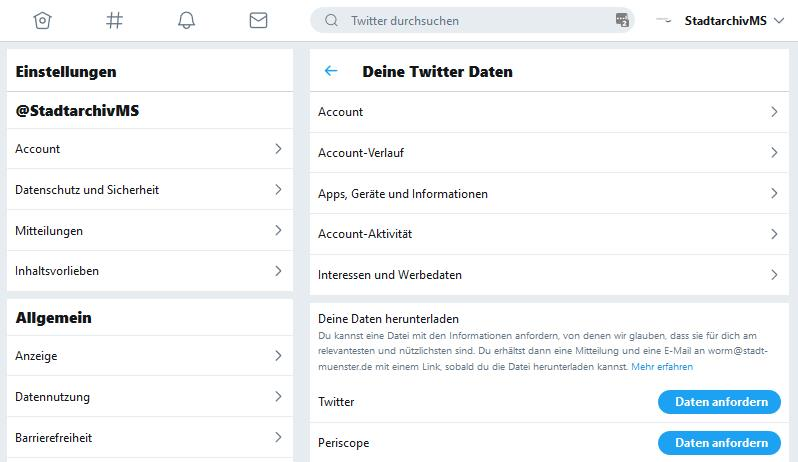 Abb. 7: Oberfläche in Twitter, mit der der Export des Profils möglich ist.