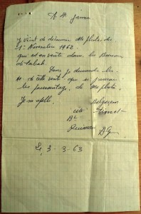 Courrier à l'agence Jomone, 3 mars 1963, Archives Cohen-Addad, IHTP.