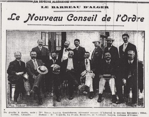 Le conseil de l'ordre du barreau d'Alger en 1913 (cliché Trémollet, La Dépêche algérienne, 4 juillet 1913): au centre au second rang, portant cravate et chéchia, Ahmed Bouderba (1868-1920), premier avocat d'origine musulmane à avoir prêté serment à Alger (1891) et le seul à y avoir été élu au conseil de l'ordre avant 1914 ; au premier rang, au centre, le Guadeloupéen Maurice L'Admiral, bâtonnier de 1913 à 1919.