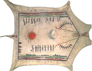Peau peinte d'origine Quapaw. 34.33.7 Don de la Bibliothèque publique de la ville de Versailles. objets provient du Cabinet du Marquis de Sérent et de biens d'émigrés confisqués.