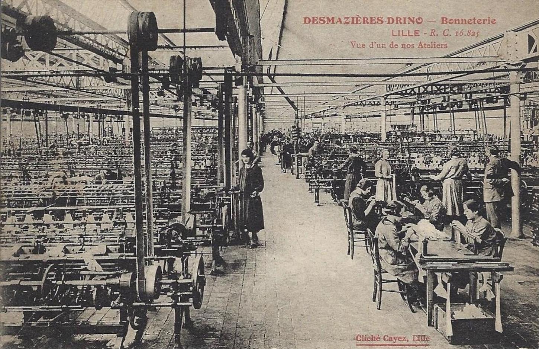 A Lille, atelier de la bonneterie Desmazières Drino (carte postale). Collection particulière.