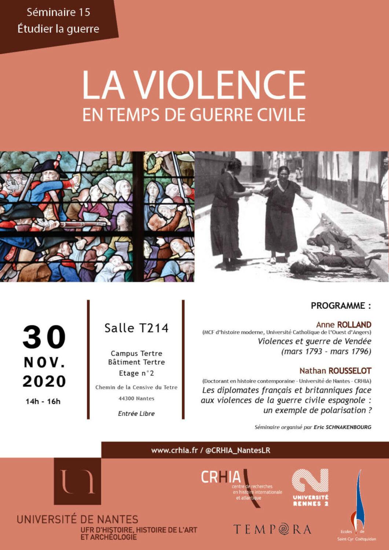 Visuel de la 15e séance du séminaire « Etudier la guerre » consacrée à « la violence en temps de guerre civile ».