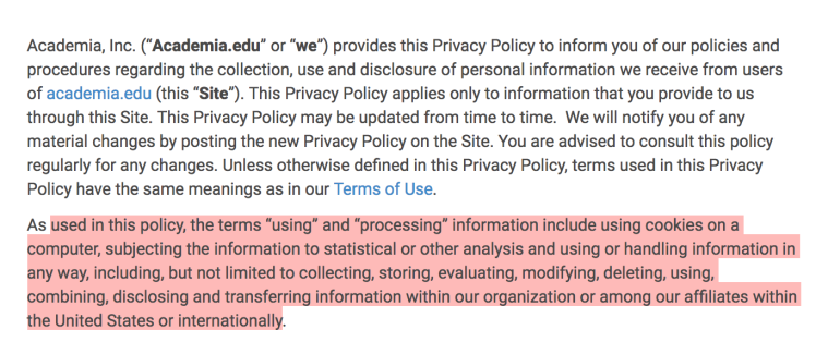 Capture d'écran de la politique de confidentialité de Academia.edu, qui les autorise de manipuler, modifier, détruire ou utiliser le contenu que nous déposons comme ils veulent.
