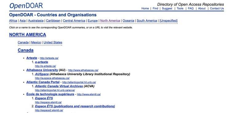 Capture d'écran de la section nord-américaine de OpenDOAR, un répertoire des archives ouvertes existantes