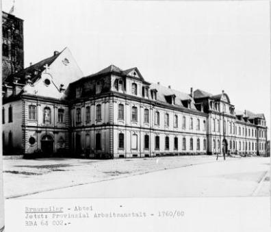 Aufnahme der alten Abtei und späteren Arbeitsanstalt Brauweiler aus dem Rheinischen Bildarchiv, Bildrechte: Rheinisches Bildarchiv, RBA 604988