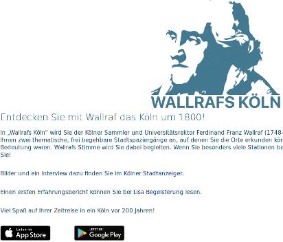 """Die Seite """"App Wallrafs Köln"""" zum Herunterladen der App, Bildrechte: Uni Köln"""