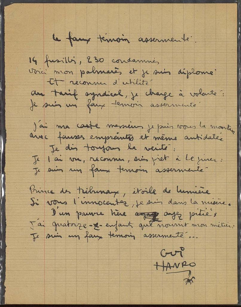 Ce poème manuscrit sur une page d'écolier s'en prend à la justice de l'épuration. Il est rédigé sur un support distinct de celui des dessins et poèmes. S'agit-il d'un ajout, d'un brouillon ?