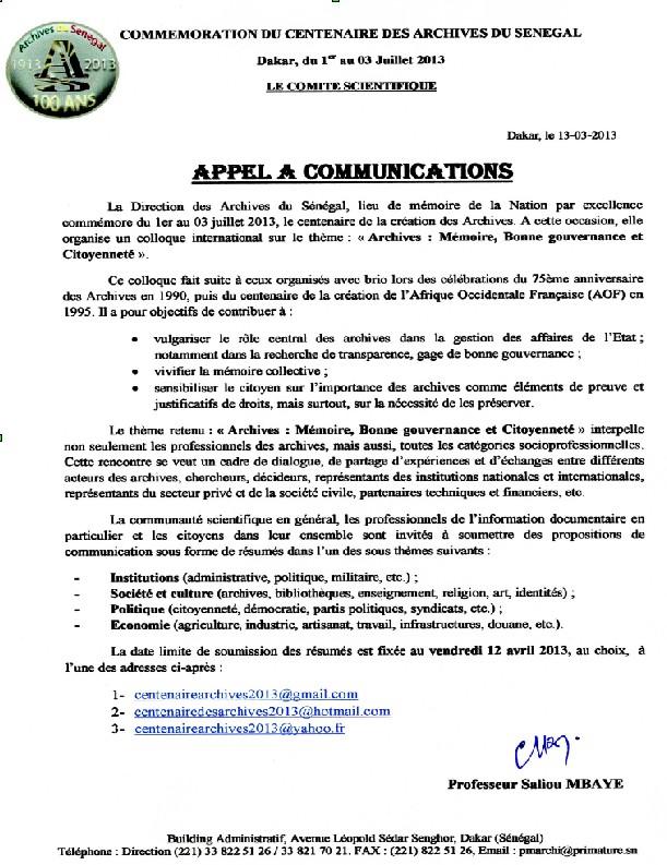 Appel a communication Senegal