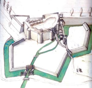 Fig. 4. Château de Selles. Vue cavalière vers 1620. Plume sur papier lavé en bleu (MOTTE, V., 2010, p. 30).