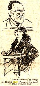 Croquis publiés en première page du Matin (24 mai 1928)