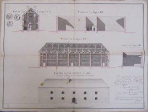 Figure 10 Elisabeth-Théodore de Fréminville, Coupe et façade d'une maison d'arrêt à construire à Bourg sur l'emplacement de l'ancienne, 01 avril 1816, AdA, 4N158 © Patrimoine Recherche Avenir.