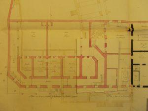 Figure 13 Elisabeth-Théodore de Fréminville, Plan de la maison d'arrêt et du tribunal projeté pour la Ville de Bourg, 10 août 1816 (détail), Archives nationales, F/13/1529A © Patrimoine Recherche Avenir.
