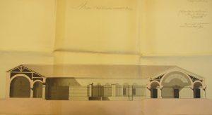Figure 9 Elisabeth-Théodore de Fréminville, Maison d'arrêt et de police municipale dans la ville de Bourg, coupe, 16 août 1811, AnF, F/13/1529/A © Patrimoine Recherche Avenir.