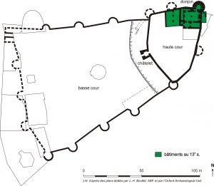 Fig. 6 Plan du site au XIIIe siècle, Jacques Naveau.
