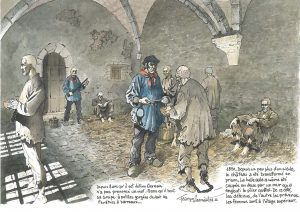 Fig. 15 Dessin de l'intérieur de l'aula à l'époque carcérale, © François Dermaut.