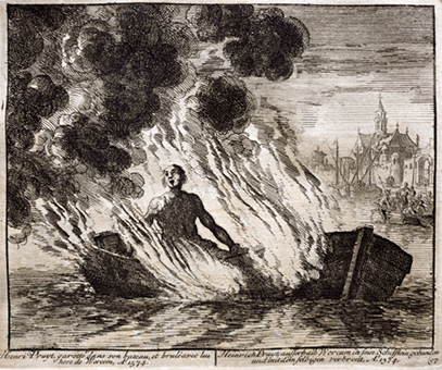 Henri Pruyt garotté dans son bateau et brulé avec lui hors de Worcom. Anno 1574, Jan Luyken, Théâtre des martyrs […], p. 95