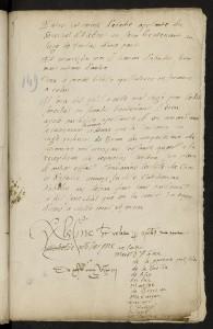 Arrêt autographe au rapport de Montaigne du 15 mai 1563