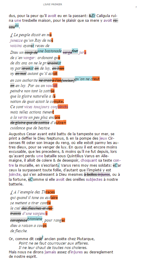 Exemple de l'affichage du début du folio 7 concernant la fin du chapitre IV du livre I.
