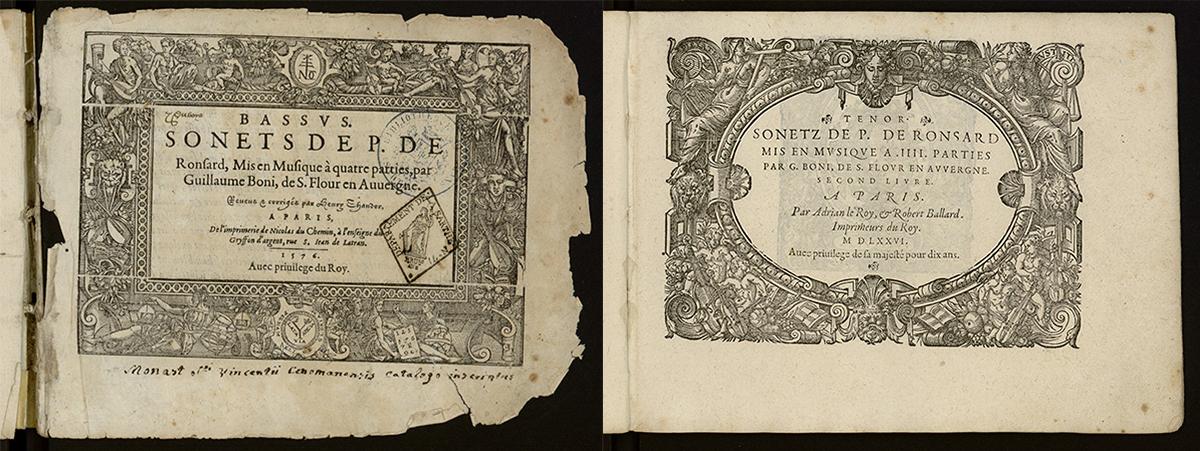 Pages de titres. Sonnets, Pierre de Ronsard. Paris, 1576.