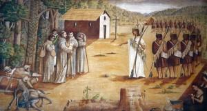 Juan Santos cerca franciscanos