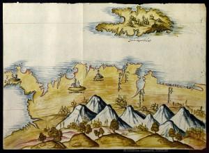 En la imagen se observa una pintura de las costas de Tierra Firme y de la isla de la Española. Una de las ciudades que se identifica en el mapa es la de Santa Marta, que fue asaltada desde la Sierra Nevada por nativos de diferentes etnias el día de San Juan de 1600.