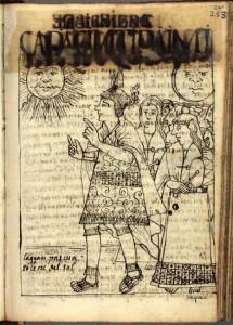 En la imagen se observa el dibujo con el cual Guamán Poma recreó la celebración del solsticio de diciembre como una ceremonia de carácter estatal encabezada por el Inca.