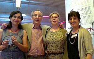 De gauche à droite : Séverine Sanz (UMR 5140), Jean-Pierre Girard, Claudine Maréchal, Emmanuelle Vila (MSH MOM, Lyon).