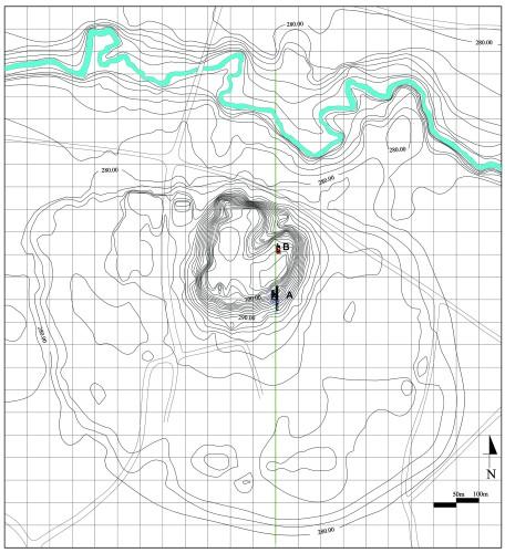 Fig. 2 : Plan général de Qasr Shemamok - Kilizu, avec la position des chantiers A et B.