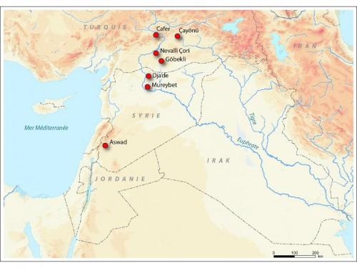 Figure 1 – Sites du PPNB ancien où apparaissent les plus anciens ongulés domestiques. Le site le plus méridional, Aswad, est daté de la fin de la période.