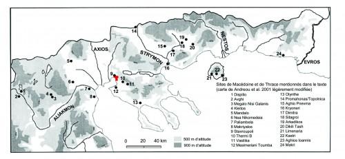 Carte de la région visitée et des principaux sites Néolithiques (Andreou et al. 2001 modifiée)