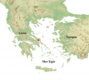 Fig. 1 : localisation d'Érétrie en Eubée, Grèce centrale.