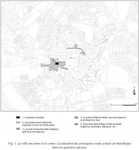 Fig. 1a : localisation des principaux souks de métallurgie dans la ville ancienne d'Alep. Conception J.-C. David, dessin Y. Montmessin