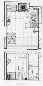 Fig. 6a-6b-6c-6d : plan de l'atelier du fondeur de bronze Nabil Habsch ; il est assis au sol pour confectionner les moules ; murets bas, cloisons, aménagement fixe et mobile, traces au mur ; dessin et photo de Moheb Chanesaz.