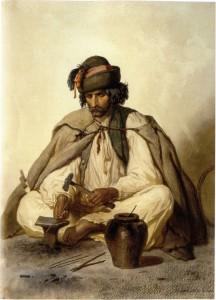 Fig. 9a : l'installation d'un forgeron tzigane de Hongrie, par le peintre Valerio au 19e siècle.