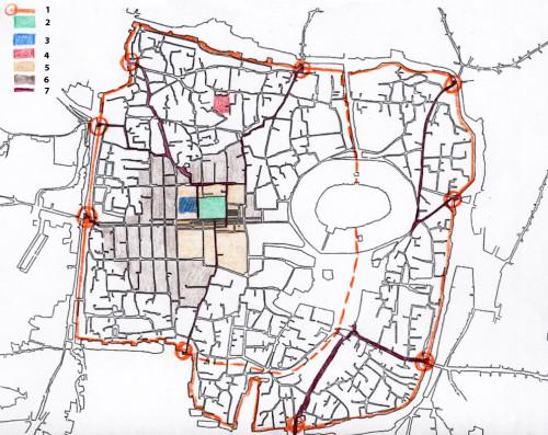 Fig. 1 : plan de la ville intra-muros avec les tracés hippodamiens du centre et l'organisation radioconcentrique des quartiers périphériques. 1: tracés de la muraille et emplacements des portes. 2: Grande Mosquée omayyade. 3: emplacement de la Grande Église (cathédrale byzantine transformée en mosquée au XIIe siècle). 4: la Grande Synagogue, bâtiments d'origine byzantine transformés ultérieurement, utilisés comme synagogue jusqu'au XXe siècle. 5: trame à mailles larges du Centre. 6: trame à mailles plus petites du damier hippodamien pour les quartiers d'habitation. 7: tracés des voies radio-concentriques passant par les portes de l'enceinte (état au XXe siècle).