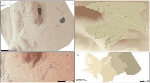 Fig. 5 : les résultats du relevé topographique orienté vers la problématique agricole : à gauche les MNT à deux échelles de travail, à droite la modélisation des terrasses actuelles.